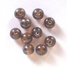 De 12: ronda 10mm lustered Perlas De Vidrio, Topacio Oscuro, para la fabricación de joyas etc.