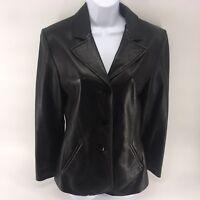 Women's Wilsons Leather Pelle Studio BLACK Leather Jacket Coat Button size M