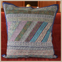 """Handmade Silk Embroidered Border 24""""  Square Blue Color Pillow Cover from India"""