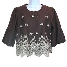 Women Batwing Long Sleeve ECI Floral Brown White Blouse Top Size 10 New