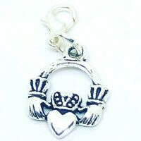 TIBETAN SILVER Irish Claddagh; Love, Loyalty, Friendship CLIP ON CHARM BRACELETS