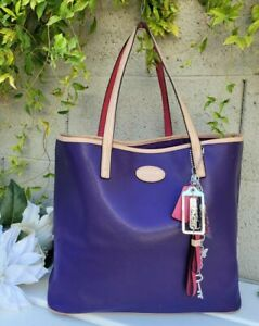 Coach Metro xl purple/fuschia Tote textured Leather shoulder bag 31326 purse