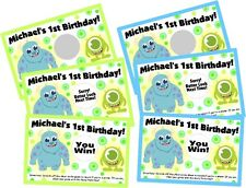 BABY MONSTERS INC PERSONLIZED SCRATCH OFF OFFS PARTY GAME CARDS BIRTHDAY FAVORS