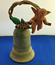 Vintage Handpainted Red Clay Pottery Bell Cherub Angel
