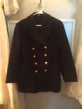 Vintage Pea Coat Bavy Military Lots Of Anchor Buttons Thick Wool Sz XL