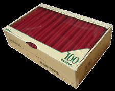 Bolsius 100 Wine Red Non Drip Dinner Taper Tapered Candles 7.5 Hour Burn Time
