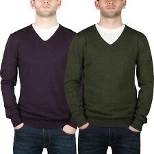 New Mens Merino Wool V Neck Jumper Pullover Knitted Plain Designer Sweater Top