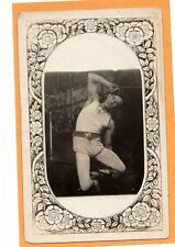 Real Photo Postcard RPPC - Athlete in Contortionist Pose - Art Nouveau Border
