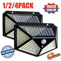 100 LED Solar Power Wall Light PIR Motion Sensor Waterproof Outdoor Garden Lamp^