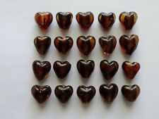 CLEARANCE 20 Amber Tone Foil Glass Heart Jewellery Craft Beads Pendants 13mm