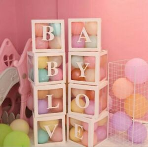4Pcs/Set LOVE BABY Transparent Balloon Box Gift Boxes Birthday Baby Shower Party