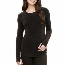 Cuddl Duds Women's Fleece With Stretch Long Sleeve Crew (Black, Xxl)