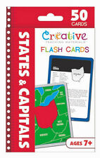 NEW 50 States & Capitals Flash Cards United States Geography Fun Facts Ages 7+