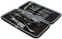 Manicure Set 12 Piece Nail Care Pedicure Kit Cutter Cuticle Clipper Case Gift UK