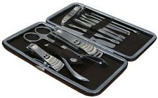 Manicure Set 12 Piece Nail Care Pedicure Kit Cutter Cuticle Clipper Case Gift UK
