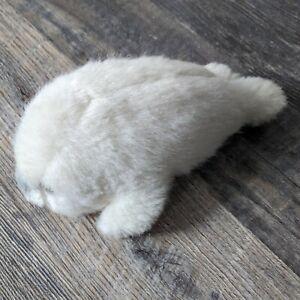 Vintage Russ Berrie & Co White Plush Seal Stuffed Animal