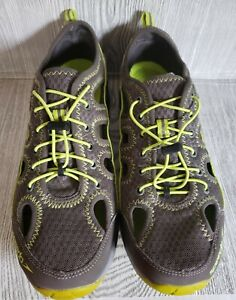 Speedo Mens Grey Yellow Green Hydro Comfort Shoes Land Water Lace Up Mesh Sz 10