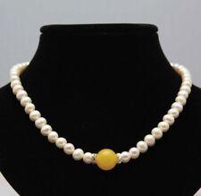 Handmade 14mm Yellow Jade Gems Bead 7-8mm White Freshwater Pearl Necklace 18''