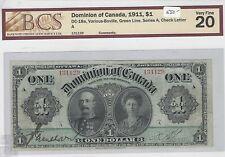 1911 Dominion of Canada $1 BCS VF20