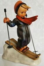"GOEBEL HUMMEL SKIER LITTLE BOY ON SKIS WOODEN POLES #59 TMK3 5"" EXCELLENT COND"