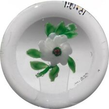 Rare Antique Clichy Art Glass Paperweight Lampwork White Camelia