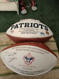 NFL SIGNED BSA/TIM COUCH+N.E PATRIOTS SB FOOTBALL/AFC CONF TITLES TO SB 49.DEAL
