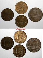 Latvia Bronze LOT OF 4 COINS 1922-1932 5 Santimi ;2 Santimi KM# 3;KM# 2