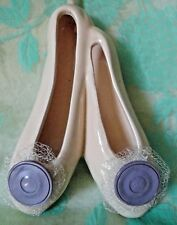 Ballet Shoes Slippers Hanging ceramic Purple buttons 7 inches tall