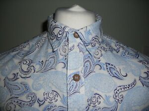 mens (M) hemp rich long sleeve patterned shirt