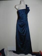 Davids Bridal Dress Size 2 Peacock Bridesmaid F14430 Prom Satin NWT $159
