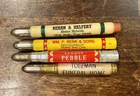 Lot of 4 Vintage Advertising Bullet Pencils