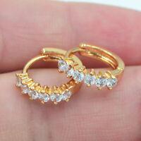 18K Yellow Gold Filled Clear Mystical Topaz Zircon Women Huggie Earrings Jewelry