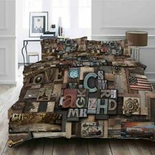 Wood Nailed Letter 3D Printing Duvet Quilt Doona Covers Pillow Case Bedding Sets