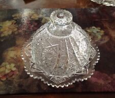 Round Covered Butter Dish Daisy and Button Clear (Ohio) by Imperial Glass-Ohio