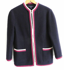 land's end 100% boiled wool jacket 3/4 sleeve Navy Blue Size10