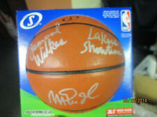 """MAGIC JOHNSON / JAMAAL WILKES """"LAKERS SHOWTIME"""" SIGNED BASKETBALL PSA/DNA"""