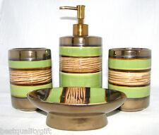 4 Pezzi Marrone + Verde a Righe Ceramica Erogatore di Sapone+ Piatto+