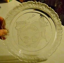 """VTG FOSTORIA GLASS CO 1971 OHIO STATE 1803 EMBOSSED FROSTED GLASS 9"""" PLATE"""