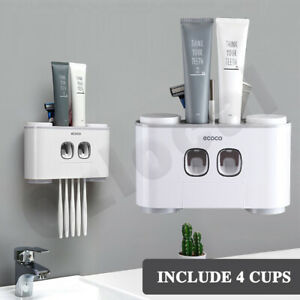 Handfree Toothbrush Holder Automatic Toothpaste Dispenser Set 5 Holder 4 Cup NEW