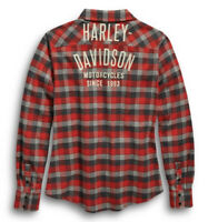 Harley Davidson Flannel Shirt Woven Red Plaid HD Graphic Logo L/S Women Sz M NWT