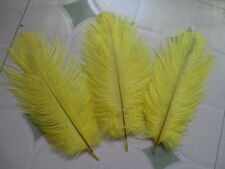 """FEATHERS OSTRICH X 5 pcs YELLOW  Millinery and Crafts 5""""- 7"""""""