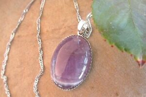 Amethyst oval pendant necklace sterling silver amethyst necklace jewellery.