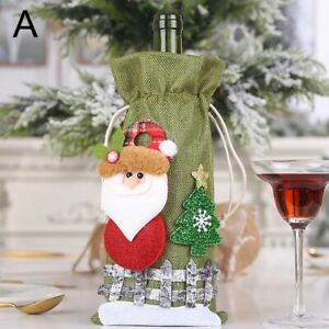 Christmas Wine Bottle Covers Bag Holiday Santa Claus Champagne Bottle Red