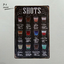 DL- SHOTS MENU LARGE METAL TIN SIGN POSTER RETRO STYLE WALL ART PUB BAR DECOR