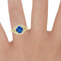 1.60 Ct Real Certified Diamond Real Certified Blue Sapphire Ring 14K Yellow Gold
