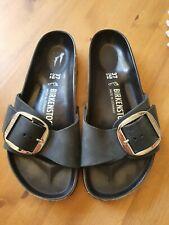 Birkenstock Ladies Black Leather Madrid Sandals Big Buckle Size 37 Exc Cond