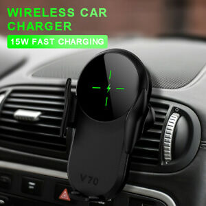 Automatic Wireless Fast Car Charging Charger Mount Clamping Phone Holder 2 IN 1