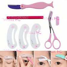 1 Set Eyebrow Pencil Razor Scissor Stencil Styles Template Trim Shape brow Tool