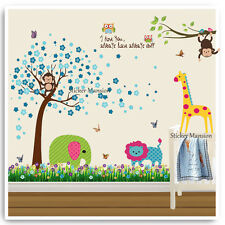 Animal Monkey Wall Stickers Owl Jungle Zoo Tree Nursery Baby Kids Room Decal Art