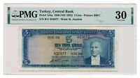 TURKEY banknote 5 Lira 1952 PMG VF 20 Very Fine